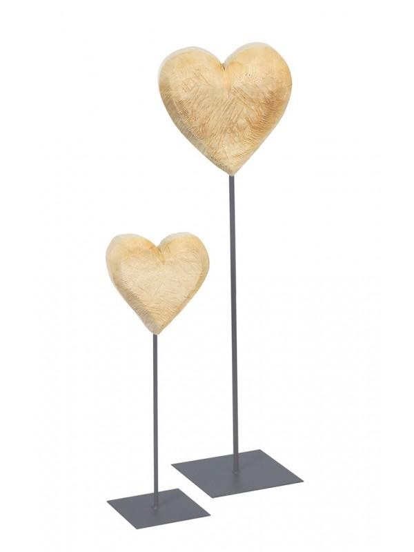 Holz Herz a.Fuß Holz natur 130cm
