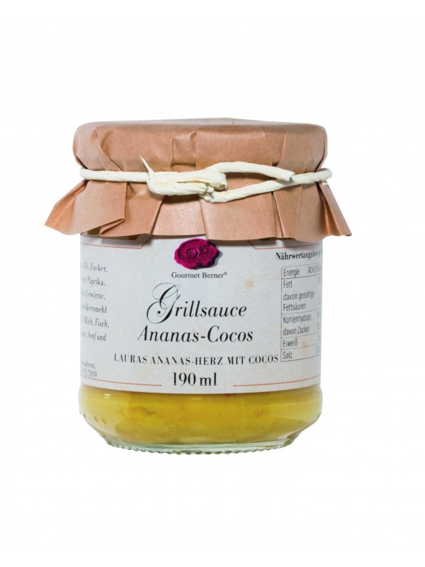 Grillsauce Ananas Cocos (Lauras Ananas-Herz mit Cocos Grillsauce), 190ml Glas