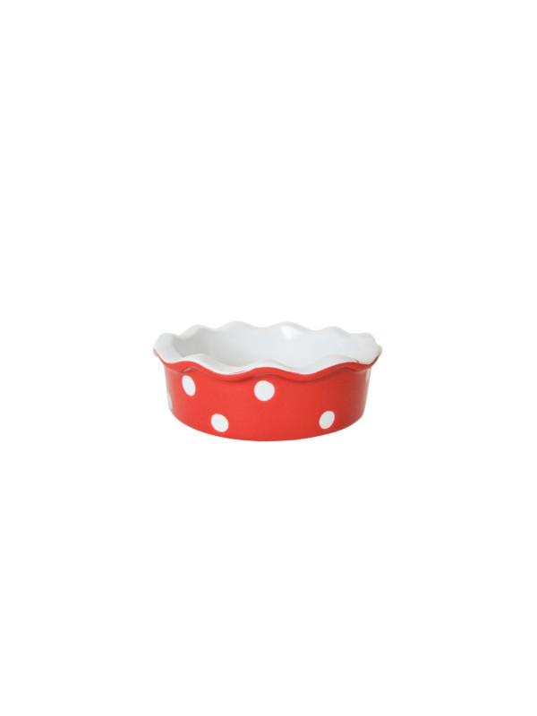 Isabelle Rose Kleine Quiche - / Tarte Form aus Keramik Rot mit weißen Punkten Ø 11,7 cm