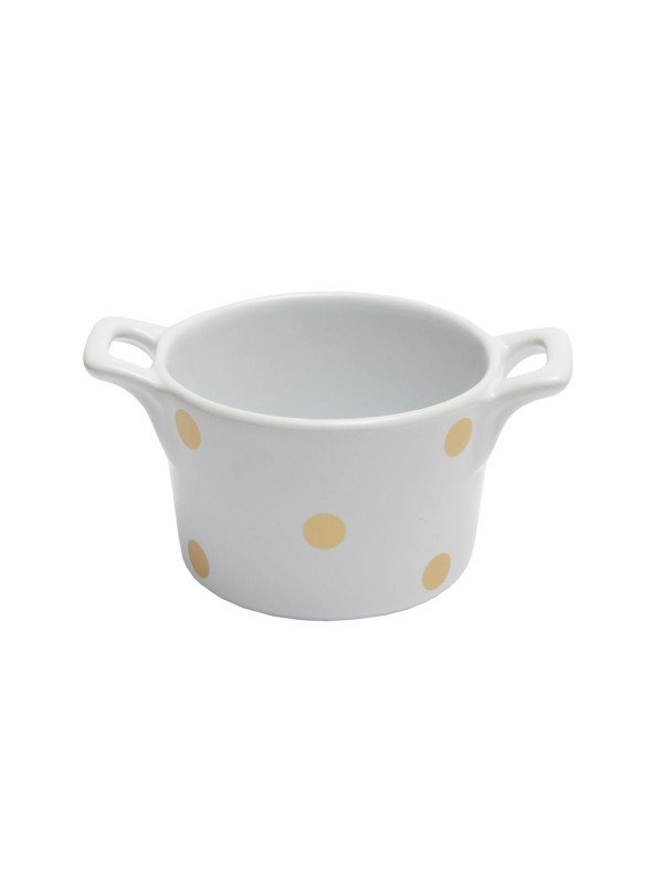Isabelle Rose Muffin kleine Backform Keramik Weiß mit Gold glänzenden Punkten