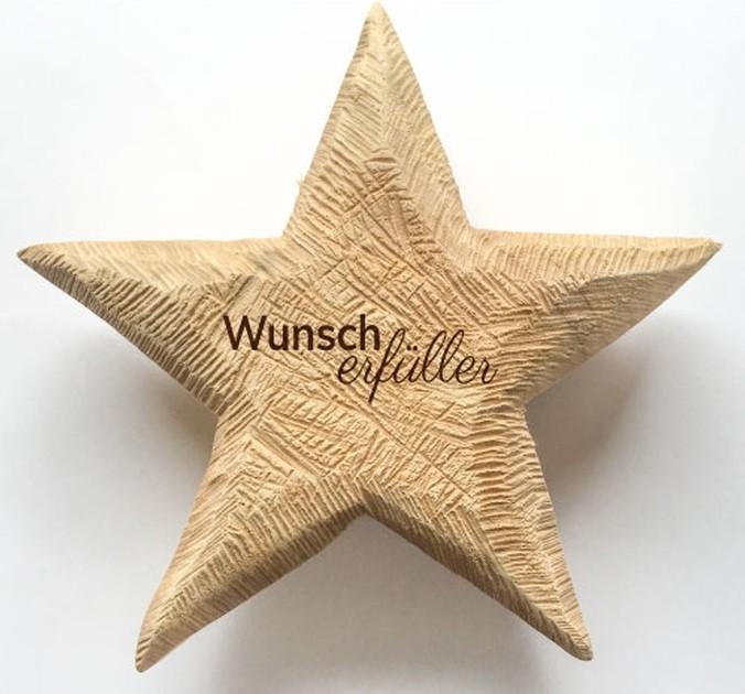 Holz Stern Pappel natur 20x20 Wunscherfüller