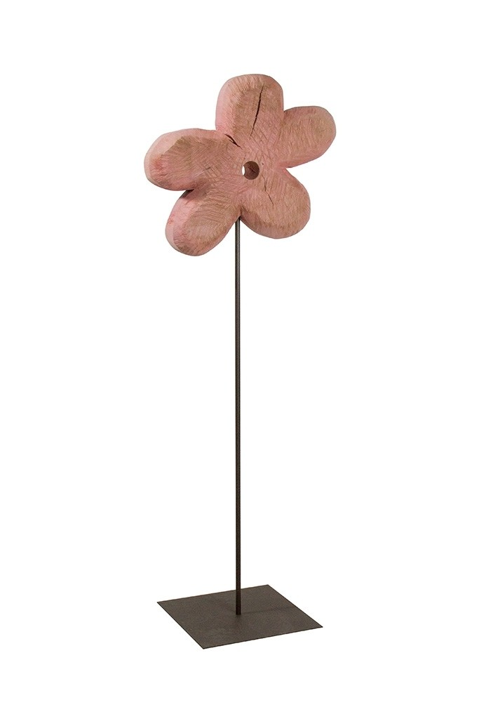 Holz Blume Pappel pink 130x45cm