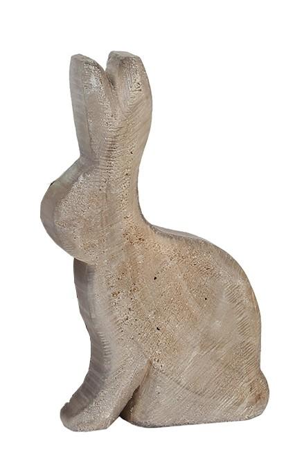 Holz Hase Pappel grau sägerauh 35x20cm