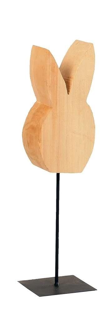 Holz Hase auf Fuß Holz natur 45cm