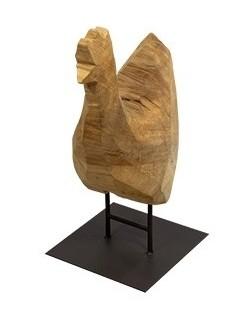 Holz Hahn Pappel natur auf Fuß 40cm