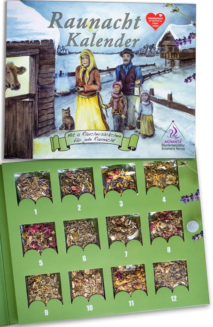 Raunachtkalender mit 12 Räuchersäckchen
