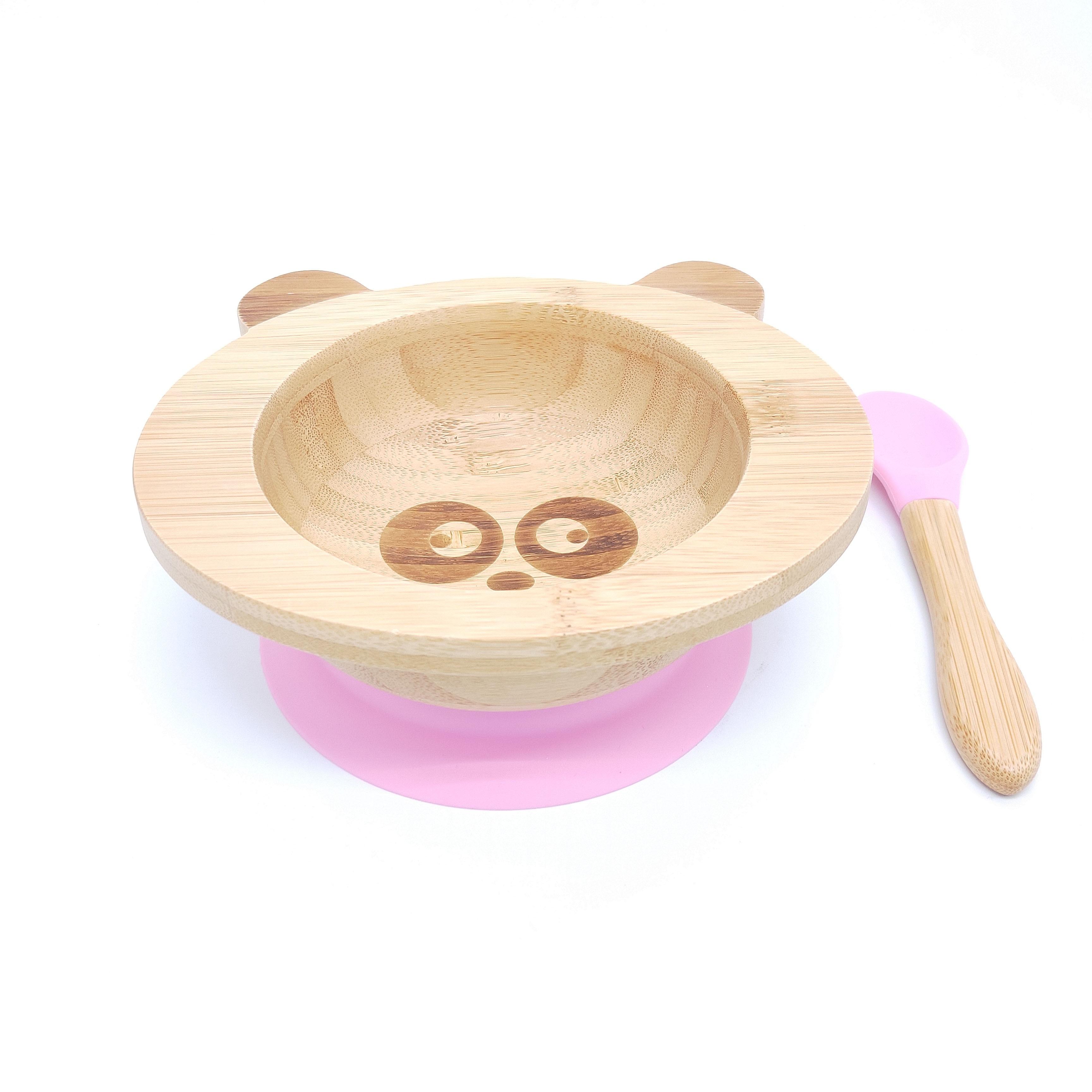 Kinderschüssel mitSilikonboden Bambus / Rosa