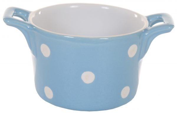 Muffin kleine Backform Keramik Blau mit weißen Punkten Isabelle Rose