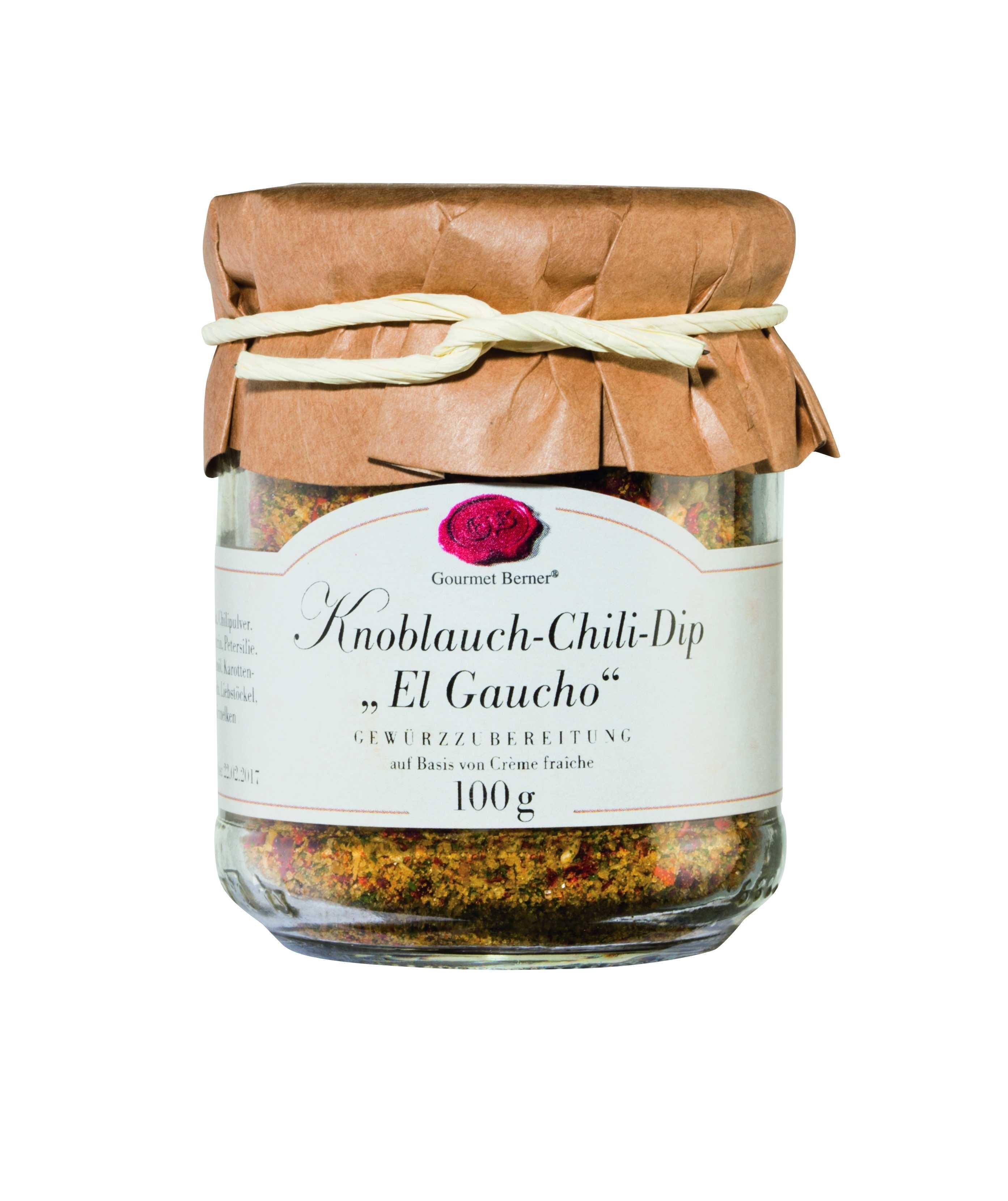 """Knoblauch Chili Dip """"El Gaucho"""" im 100g Glas"""