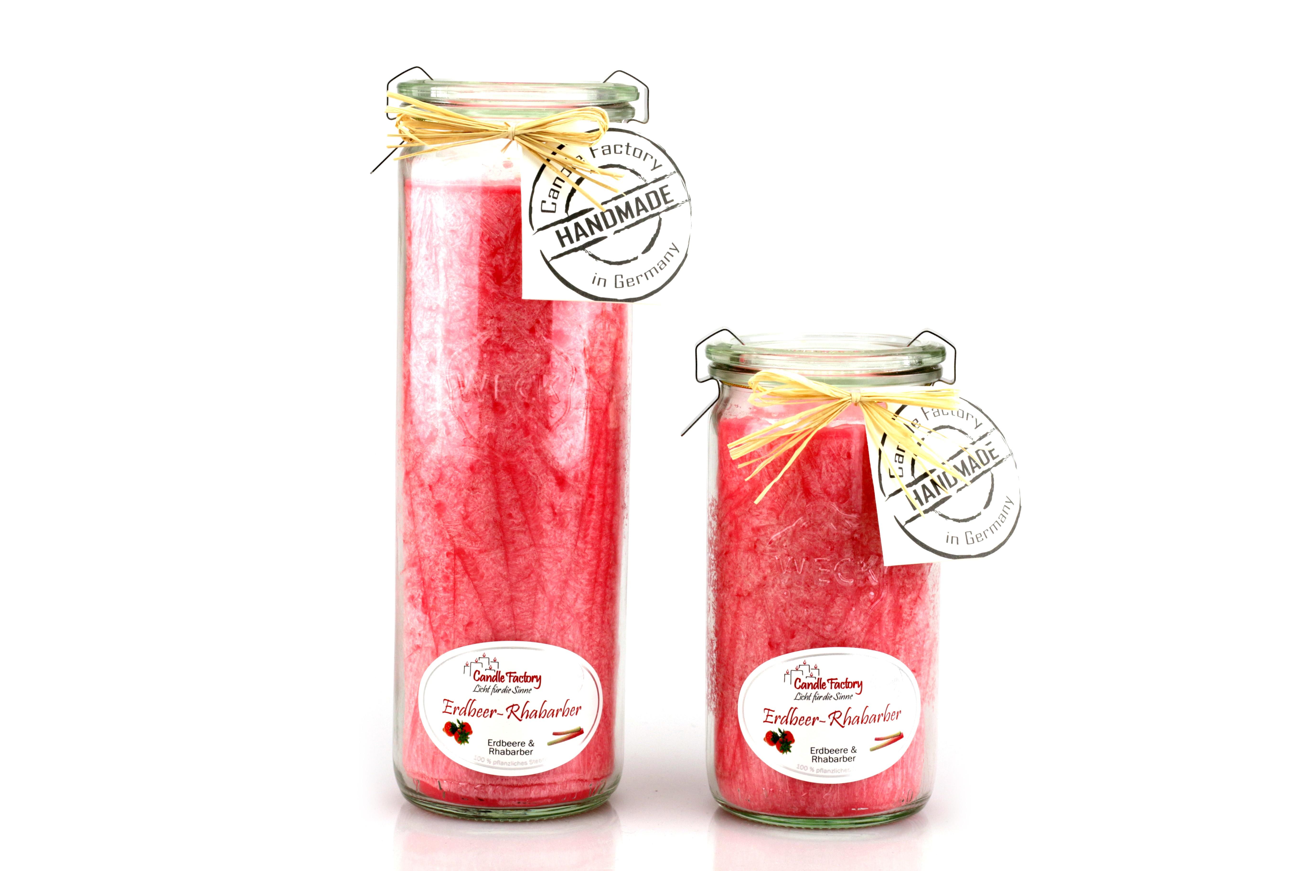 Kerze Big-Jumbo Erdbeere - Rhabarber