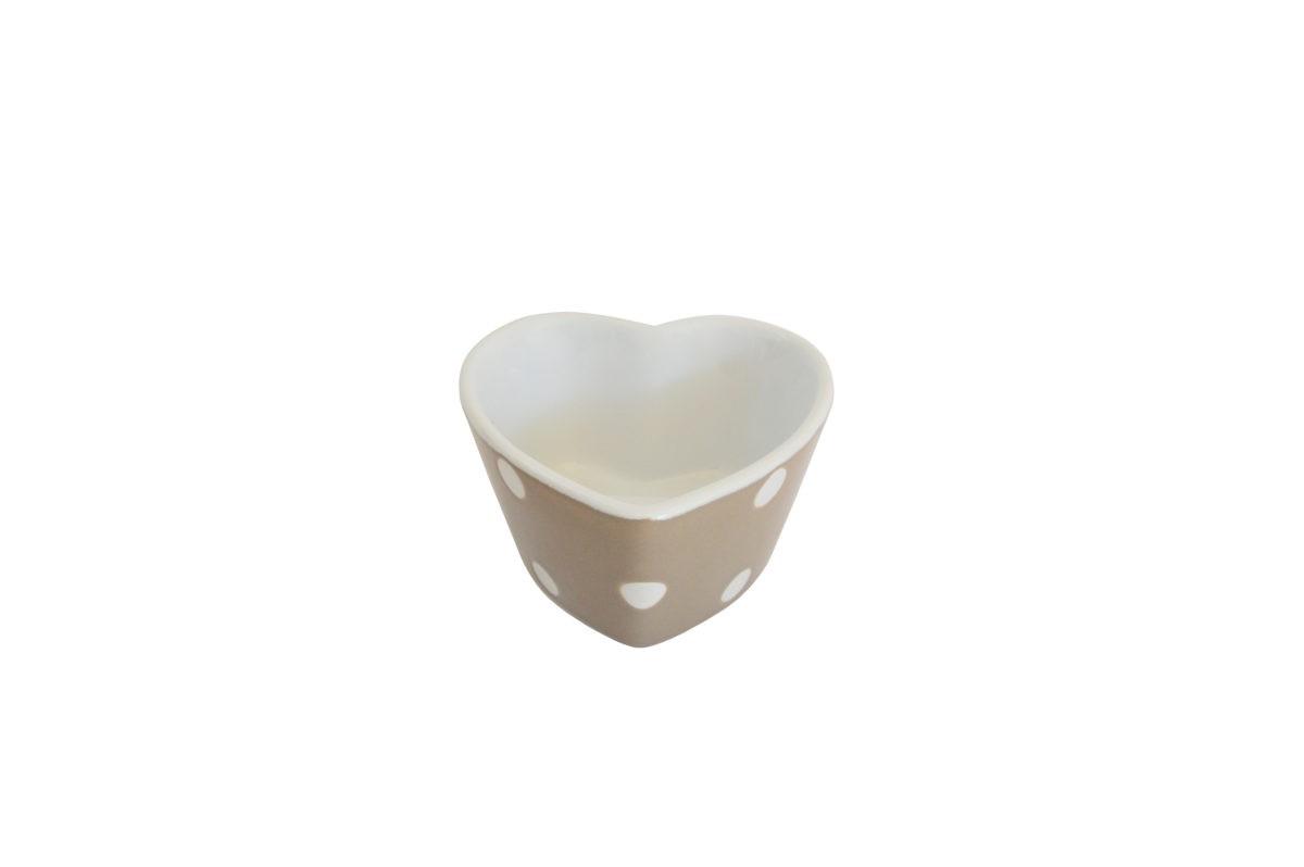 Herz-Muffin kleine Backform Keramik Beige mit weißen Punkten
