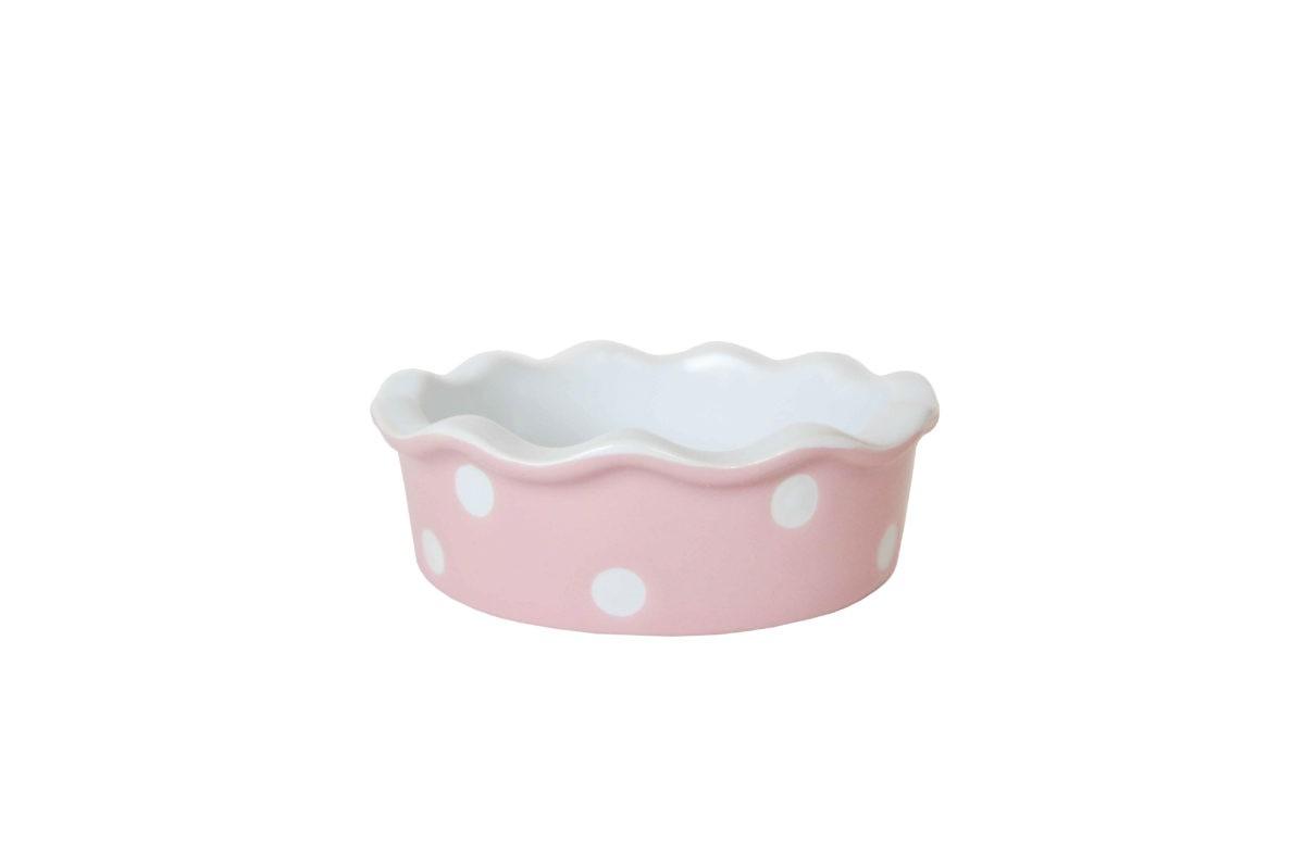 Kleine Quiche - / Tarte Form aus Keramik Rosa mit weißen Punkten Ø 11,7 cm Isabelle Rose