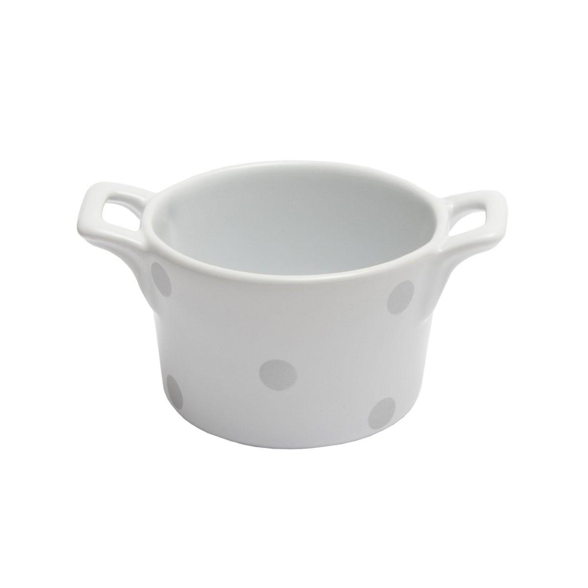 Muffin kleine Backform Keramik Weiß mit Silber glänzenden Punkten Isabelle Rose