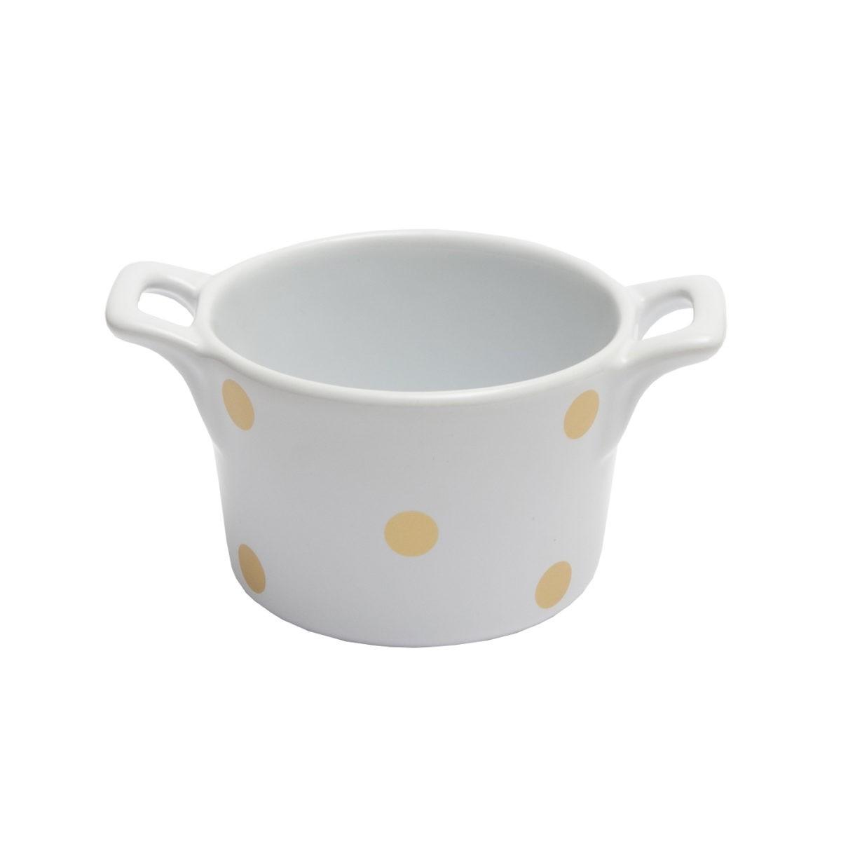 Muffin kleine Backform Keramik Weiß mit Gold glänzenden Punkten Isabelle Rose