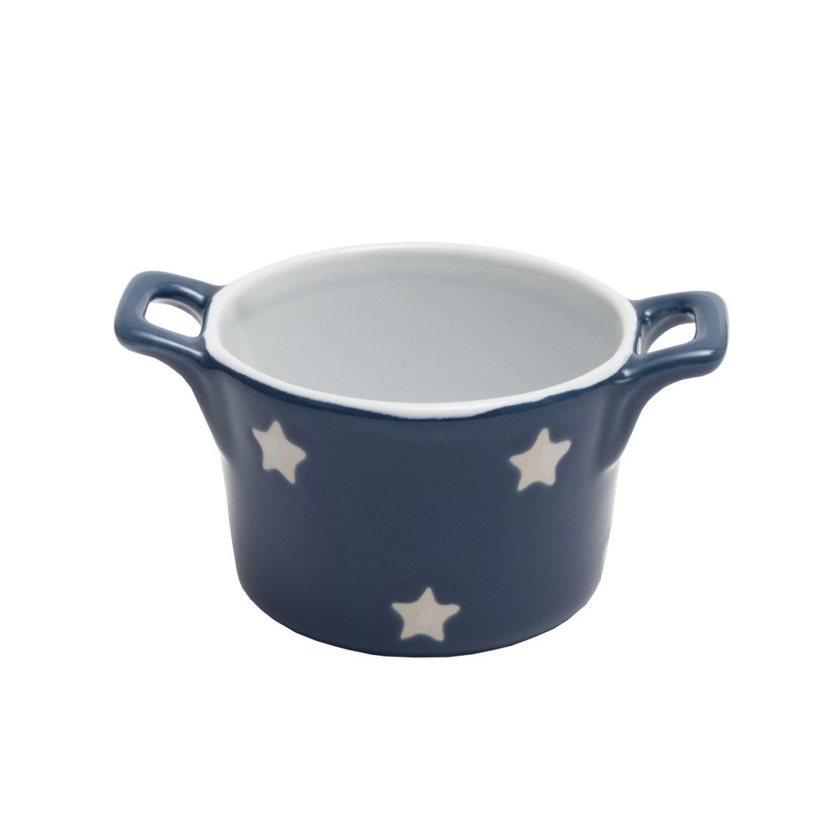 Muffin kleine Backform Keramik Dunkelblau mit weißen Sternen Isabelle Rose