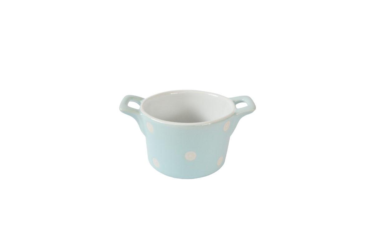 Isabelle Rose Muffin kleine Backform Keramik Pastellblau mit weißen Punkten