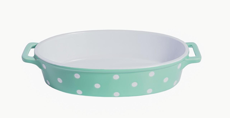 Ovale Auflaufform Keramik MINTGRÜN mit weißen Punkten Isabelle Rose