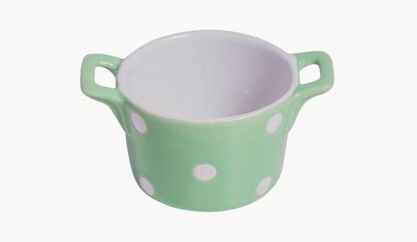 Muffin kleine Backform Keramik Mintgrün mit weißen Punkten Isabelle Rose