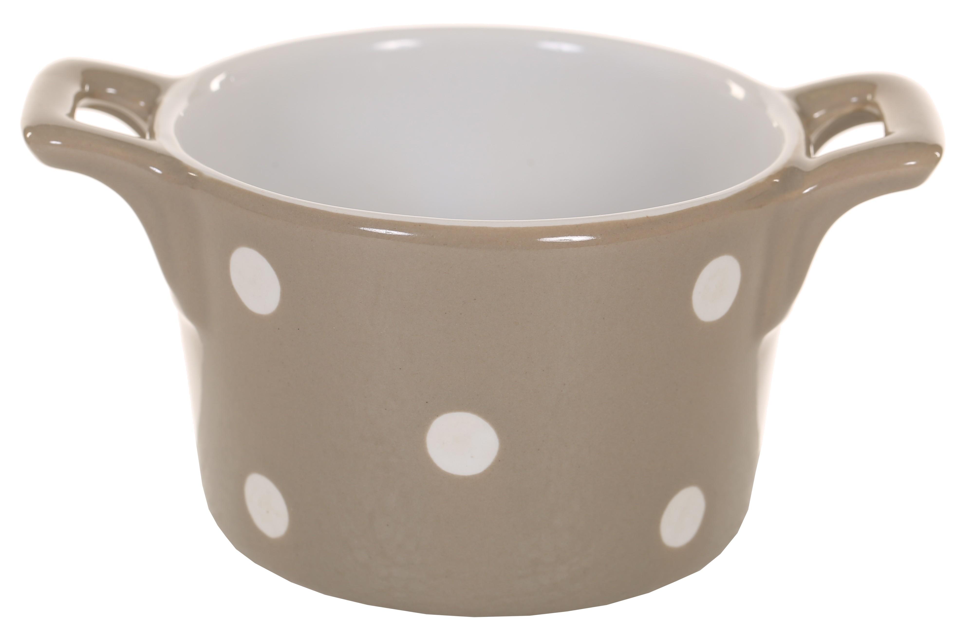 Muffin kleine Backform Keramik Beige mit weißen Punkten