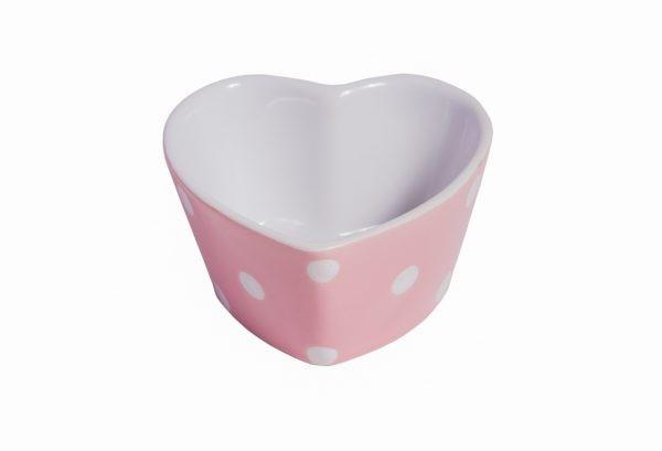 Herz-Muffin kleine Backform Keramik Rosa mit weißen Punkten Isabelle Rose