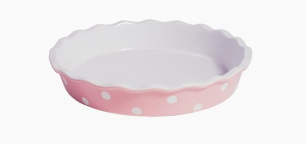 Quiche - / Tarte Form aus Keramik Rosa mit weißen Punkten Ø 27 cm Isabelle Rose