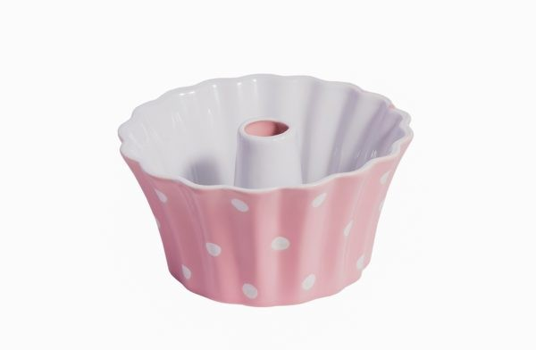 Guglhupf Backform - Keramik -  Rosa mit weißen Punkten