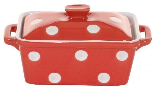 Butterdose oder Auflaufform Keramik Rot mit weißen Punkten Isabelle Rose