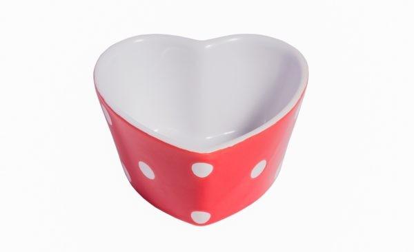 Herz-Muffin kleine Backform Keramik Rot mit weißen Punkten Isabelle Rose