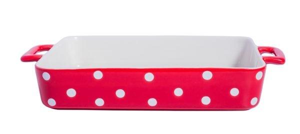 Große Auflaufform rechteckig ROT mit weißen Punkten Isabelle Rose