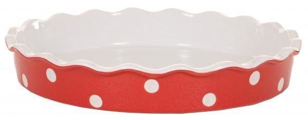 Quiche - / Tarte Form aus Keramik ROT mit weißen Punkten Ø 30 cm