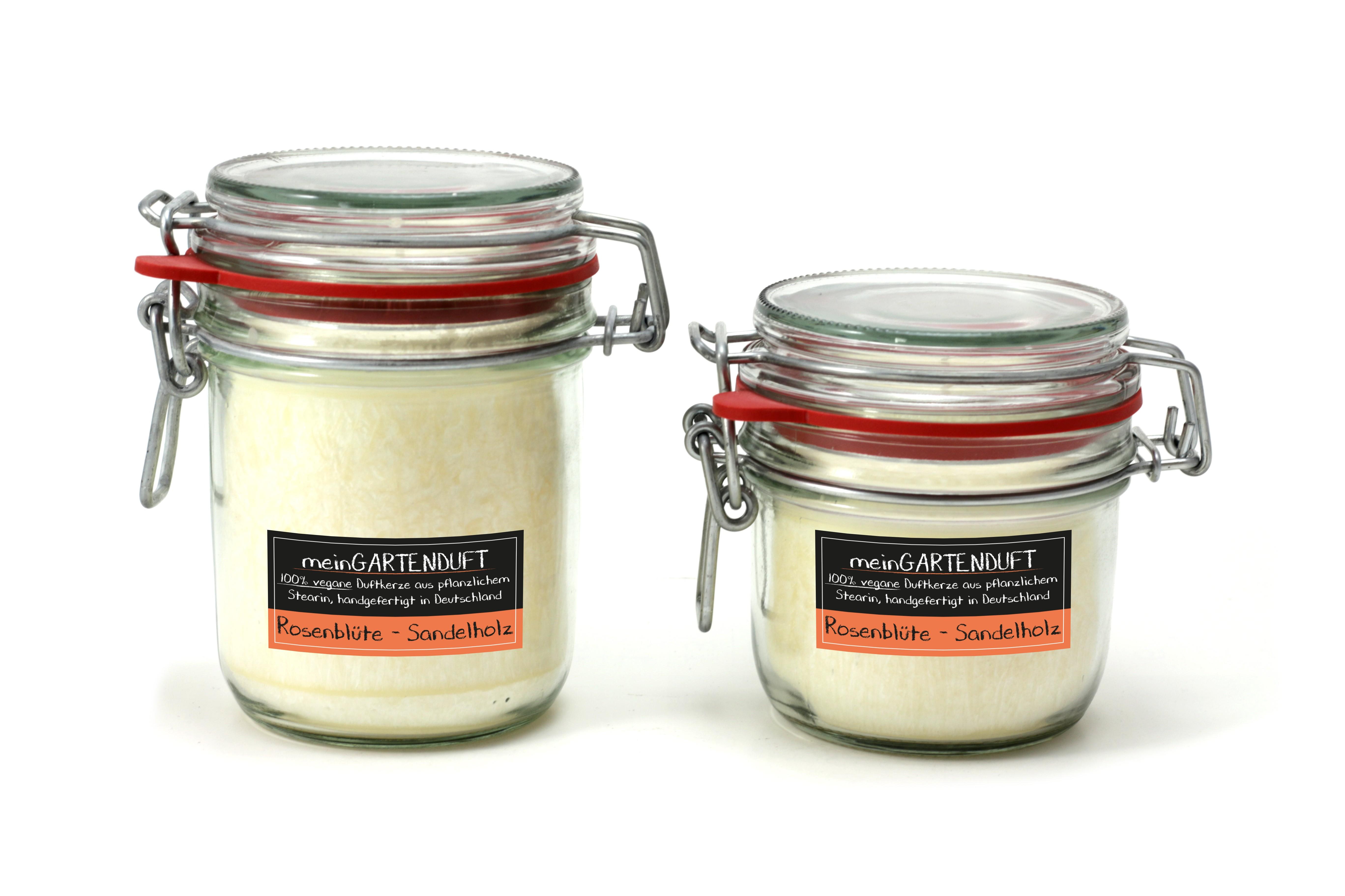 Kerze gross Rosenblüten - Sandelholz